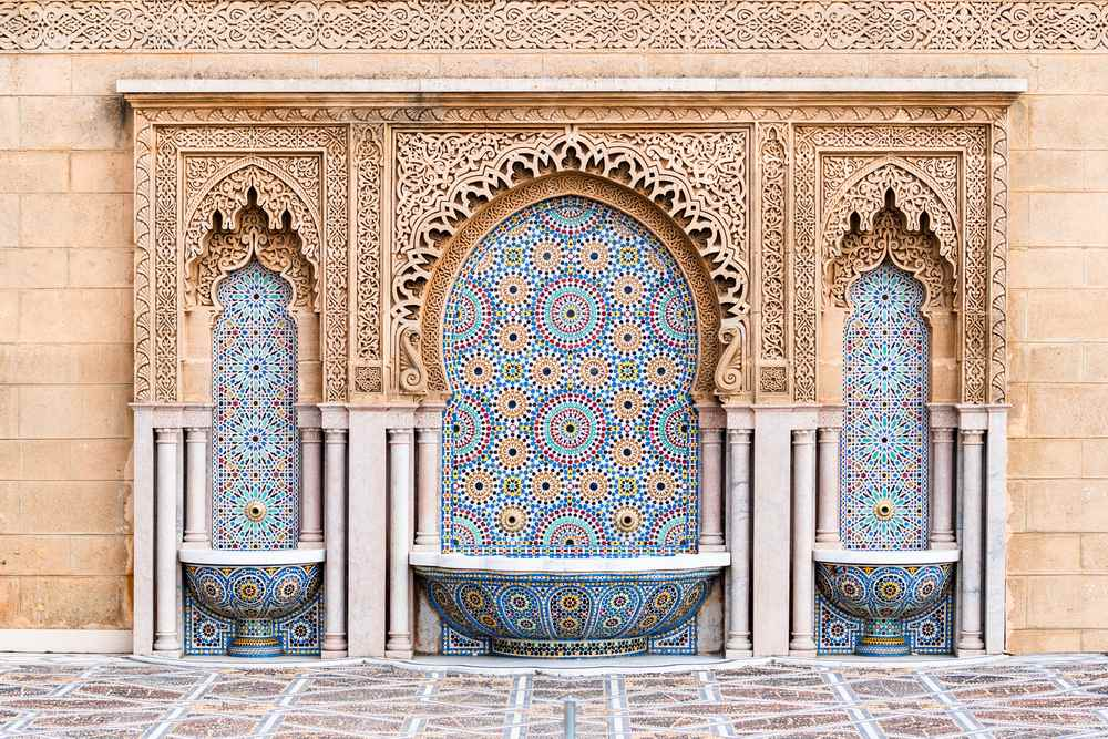 Tiled fountain on Mosque Hassan in Rabat, Morocco